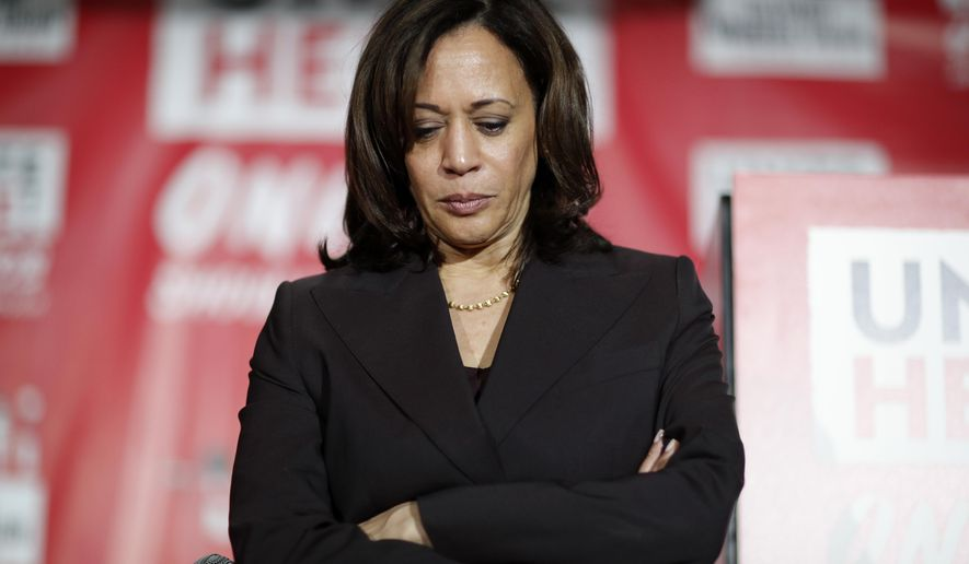 Democratic presidential candidate Sen. Kamala Harris, D-Calif., pauses as she speaks at a town hall event at the Culinary Workers Union, Friday, Nov. 8, 2019, in Las Vegas. (AP Photo/John Locher)