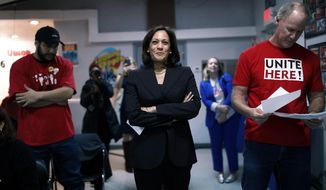 Democratic presidential candidate Sen. Kamala Harris, D-Calif., waits before speaking at a town hall event at the Culinary Workers Union, Friday, Nov. 8, 2019, in Las Vegas. (AP Photo/John Locher)