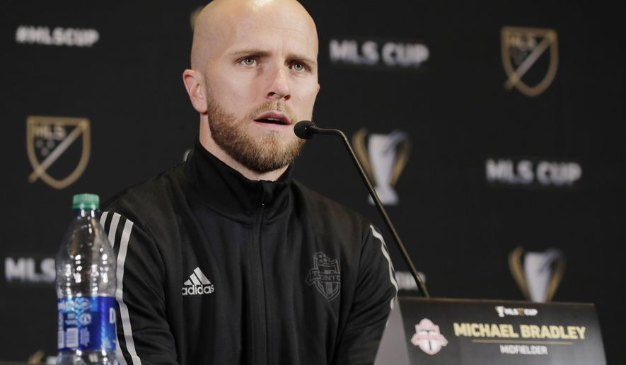 Toronto FC midfielder Michael Bradley talks to reporters Thursday, Nov. 7, 2019, during a news conference in Seattle. Toronto FC will face the Seattle Sounders on Sunday in the MLS Cup soccer match in Seattle, the third time the two teams will have met for the MLS championship. (AP Photo/Ted S. Warren)