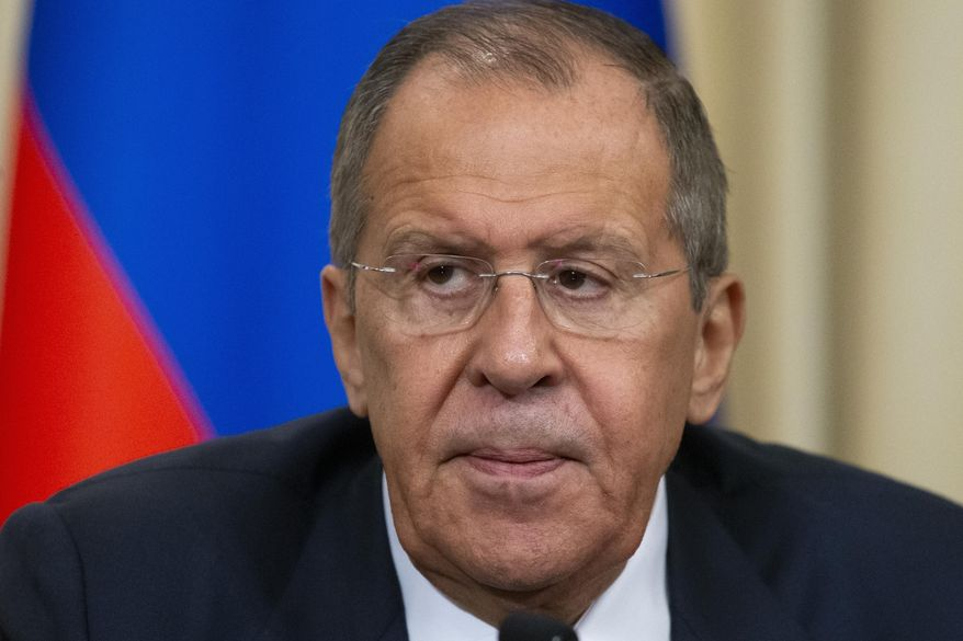Russian Foreign Minister Sergey Lavrov speaks during a joint news conference with Greek Foreign Minister Nikos Dendias following their talks in Moscow, Russia, Wednesday, Nov. 6, 2019. Lavrov and Dendias spoke for closer cooperation between Russia and Greece. (AP Photo/Alexander Zemlianichenko)