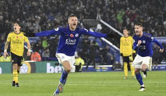 Leicester's Jamie Vardy celebrates after scoring the opening goal during the English Premier League soccer match between Leicester City and Arsenal at the King Power Stadium in Leicester, England, Saturday, Nov. 9, 2019. (AP Photo/Rui Vieira)