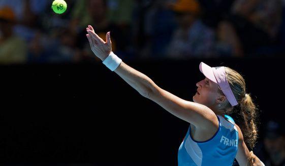 France's Kristina Mladenovic prepares to serve to Australia's Ajla Tomljanovic during their Fed Cup tennis final in Perth, Australia, Saturday, Nov. 9, 2019. (AP Photo/Trevor Collens)