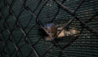 In this Thursday Nov. 6, 2019, A Turkish flag is seen through a fence that divided the Greek Cypriot south to the Turkish Cypriots north in divided capital Nicosia, Cyprus. As the world commemorates 30 years since the fall of the Berlin Wall, the bullet-riddled sandstone walls of abandoned, crumbling homes and concrete machine gun nests dotting in Cyprus' no-man's land are a reminder of Europe's last divided country. (AP Photo/Petros Karadjias)