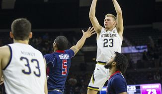 Notre Dame's Dane Goodwin (23) shoots during an NCAA college basketball game against Robert Morris Saturday, Nov. 9, 2019 at Purcell Pavilion in South Bend, Ind. (Michael Caterina/South Bend Tribune via AP)