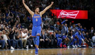 Oklahoma City Thunder's Danilo Gallinari (8) reacts during the second half of an NBA basketball game against the Golden State Warriors in Oklahoma City, Saturday, Nov. 9, 2019. (AP Photo/Garett Fisbeck)
