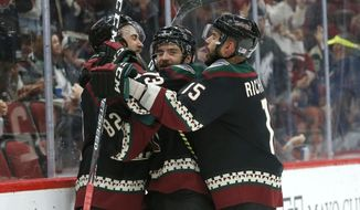 Arizona Coyotes center Vinnie Hinostroza, center, celebrates with Jordan Oesterle (82) and Brad Richardson (15) in the second period during an NHL hockey game against the Minnesota Wild, Saturday, Nov. 9, 2019, in Glendale, Ariz. (AP Photo/Rick Scuteri)