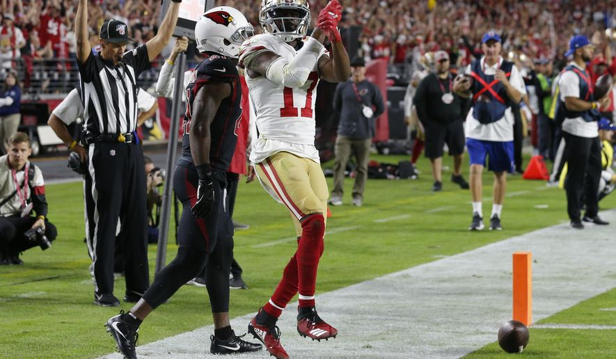 San Francisco 49ers wide receiver Emmanuel Sanders (17) celebrates his touchdown against the Arizona Cardinals during the first half of an NFL football game, Thursday, Oct. 31, 2019, in Glendale, Ariz. (AP Photo/Rick Scuteri)