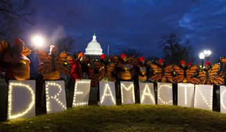"Demonstrators rally in support of Deferred Action for Childhood Arrivals (DACA) outside the Capitol, Sunday, Jan. 21, 2018, in Washington, on the second day of the federal shutdown. Democrats have been seeking a deal to protect the ""Dreamers,"" who have been shielded against deportation by DACA, which President Donald Trump halted last year. (AP Photo/Jose Luis Magana)"