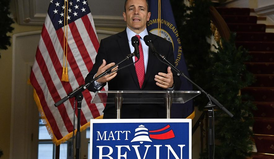 Kentucky Gov. Matt Bevin speaks during a news conference at the Governors' Mansion in Frankfort, Ky., Wednesday, Nov. 6, 2019. Bevin asked for a recanvass of Kentucky election results that showed him more than 5,000 votes behind Democrat Andy Beshear, who discounted the challenge and began preparing to take office. (AP Photo/Timothy D. Easley)
