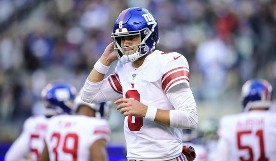 New York Giants quarterback Daniel Jones (8) pauses during the second half of the team's NFL football game against the New York Jets on Sunday, Nov. 10, 2019, in East Rutherford, N.J. (AP Photo/Steven Ryan)