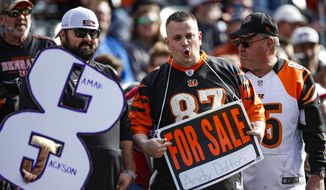 Fans jeer in the stands during the first half of NFL football game between the Cincinnati Bengals and the Baltimore Ravens, Sunday, Nov. 10, 2019, in Cincinnati. (AP Photo/Gary Landers)