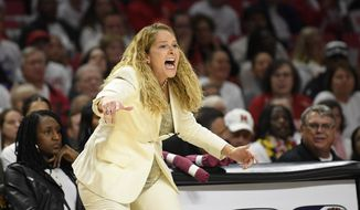 Maryland head coach Brenda Frese reacts during the first half of an NCAA college basketball game against South Carolina, Sunday, Nov. 10, 2019, in College Park, Md. (AP Photo/Nick Wass) **FILE**