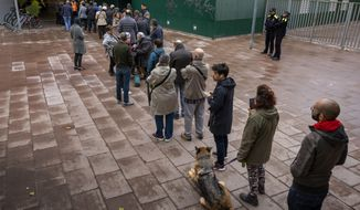 People line up outside a polling station to cast their vote for the general election in Barcelona, Spain, Sunday, Nov.10, 2019. Spain holds its second national election this year after Socialist leader Pedro Sanchez failed to win support for his government in a fractured Parliament. (AP Photo/Emilio Morenatti)