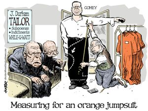 Measuring for an orange jumpsuit