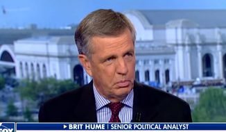 "Fox News senior political analyst Brit Hume told Twitter followers on Nov. 11, 2019, that ""pantywaists"" are ruining the University of Virginia. Mr. Hume, an alumnus, was upset over the university's decision to end a 21-gun salute tradition on Veterans Day. (Image: Fox News screenshot)"