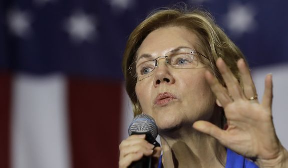 Democratic presidential candidate Sen. Elizabeth Warren, D-Mass., addresses an audience at a campaign event, Monday, Nov. 11, 2019, in Exeter, N.H. (AP Photo/Steven Senne)