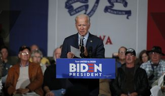 Democratic presidential candidate former Vice President Joe Biden speaks during a town hall meeting, Monday, Nov. 11, 2019, in Oskaloosa, Iowa. (AP Photo/Charlie Neibergall)