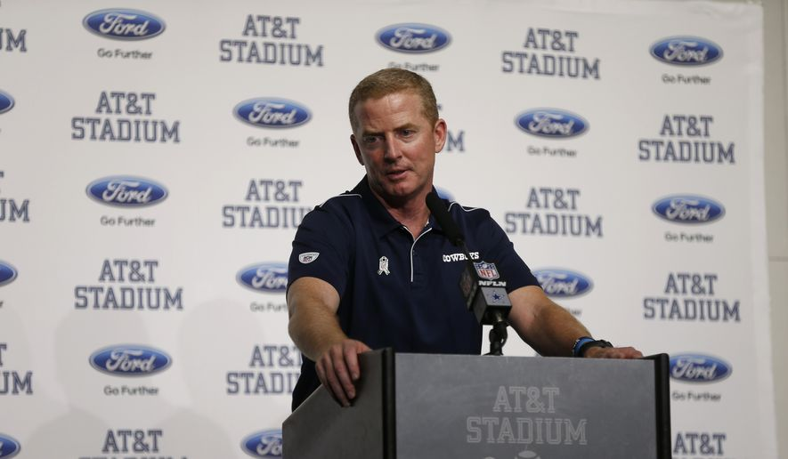 Dallas Cowboys head coach Jason Garrett responds to questions during a news conference after an NFL football game against the Minnesota Vikings in Arlington, Texas, Sunday, Nov. 10, 2019. (AP Photo/Ron Jenkins)