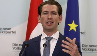 Sebastian Kurz head of the Austrian People's Party, OEVP, speaks to journalists during a press conference about the beginning of the coalition negotiations with the Austrian Greens in Vienna, Austria, Monday, Nov. 11, 2019. (AP Photo/Ronald Zak)