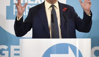 Brexit Party leader Nigel Farage speaks at a campaign rally in Pontypool, Wales, Friday Nov. 8, 2019.  Britain's Brexit split with Europe is one of the main issues as the country goes to the polls in a General Election on Dec. 12. (Ben Birchall/PA via AP)