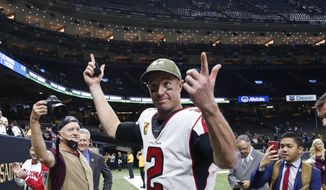 Atlanta Falcons quarterback Matt Ryan (2) reacts as he walks off the field after an NFL football game against the New Orleans Saints in New Orleans, Sunday, Nov. 10, 2019. The Falcons won 26-9. (AP Photo/Rusty Costanza)
