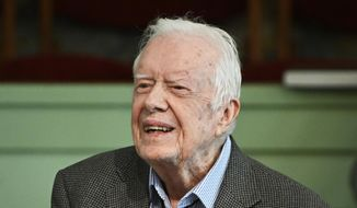 In this Sunday, Nov. 3, 2019, photo, former President Jimmy Carter teaches Sunday school at Maranatha Baptist Church in Plains, Ga. (AP Photo/John Amis) ** FILE **