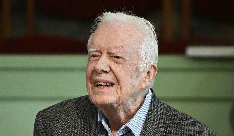 In this Sunday, Nov. 3, 2019, photo, former President Jimmy Carter teaches Sunday school at Maranatha Baptist Church in Plains, Ga. (AP Photo/John Amis) ** FILE **