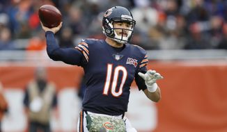 Chicago Bears quarterback Mitchell Trubisky throws against the Detroit Lions during the second half of an NFL football game in Chicago, Sunday, Nov. 10, 2019. (AP Photo/Charlie Neibergall)