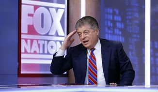 """This Nov. 27, 2018, file photo shows Fox News senior judicial analyst Andrew Napolitano hosting the inaugural broadcast of """"Liberty File"""" on the new streaming service Fox Nation, in New York. (AP Photo/Richard Drew) ** FILE **"""
