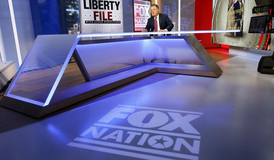 """FILE - This Nov. 27, 2018 file photo shows Fox News senior judicial analyst Andrew Napolitano hosting the inaugural broadcast of """"Liberty File"""" on the new streaming service Fox Nation, in New York. (AP Photo/Richard Drew)"""