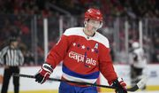 Washington Capitals center Nicklas Backstrom (19), of Sweden, stands on the ice during the second period of an NHL hockey game against the Arizona Coyotes, Monday, Nov. 11, 2019, in Washington. (AP Photo/Nick Wass)