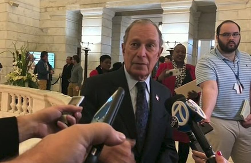 Former New York City Mayor Michael Bloomberg talks to the media after filing paperwork to appear on the ballot in Arkansas' March 3 presidential primary, Tuesday, Nov. 12, 2019 in Little Rock, Ark.   Bloomberg hasn't formally announced a bid for the Democratic presidential nomination, but his trip to Arkansas on Tuesday is the latest indication that he is leaning toward a run.  (AP Photo/APTN)