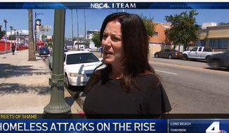 Heidi Van Tassel speaks with a local NBC affiliate in Los Angeles regarding a recent attack she suffered at the hands of a homeless man. A bucket of feces was poured over her head. (Image: NBC-4 Los Angeles)