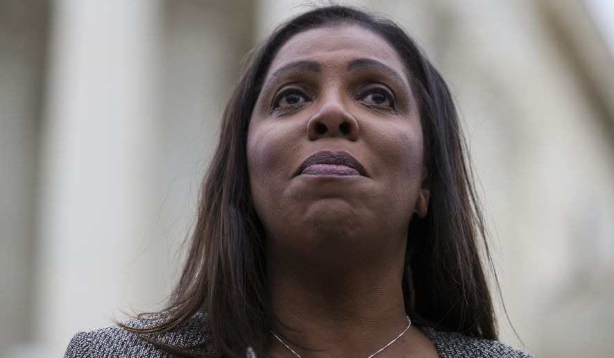 """New York Attorney General Letitia James speaks after leaving the Supreme Court on Nov. 12, 2019. Ms. James, a member of the Democratic Attorneys General Association announced in a videotaped message that her group would require prospective endorsees to affirm their support for abortion rights. A group representing Republican state attorneys general fired back against the decision, saying that for its part, """"The only litmus test for an attorney general should be a belief in the rule of law and the courage to defend and uphold the constitution."""" (AP Photo/Alex Brandon) **FILE**"""