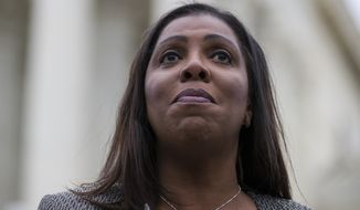 "New York Attorney General Letitia James speaks after leaving the Supreme Court on Nov. 12, 2019. Ms. James, a member of the Democratic Attorneys General Association announced in a videotaped message that her group would require prospective endorsees to affirm their support for abortion rights. A group representing Republican state attorneys general fired back against the decision, saying that for its part, ""The only litmus test for an attorney general should be a belief in the rule of law and the courage to defend and uphold the constitution."" (AP Photo/Alex Brandon) **FILE**"