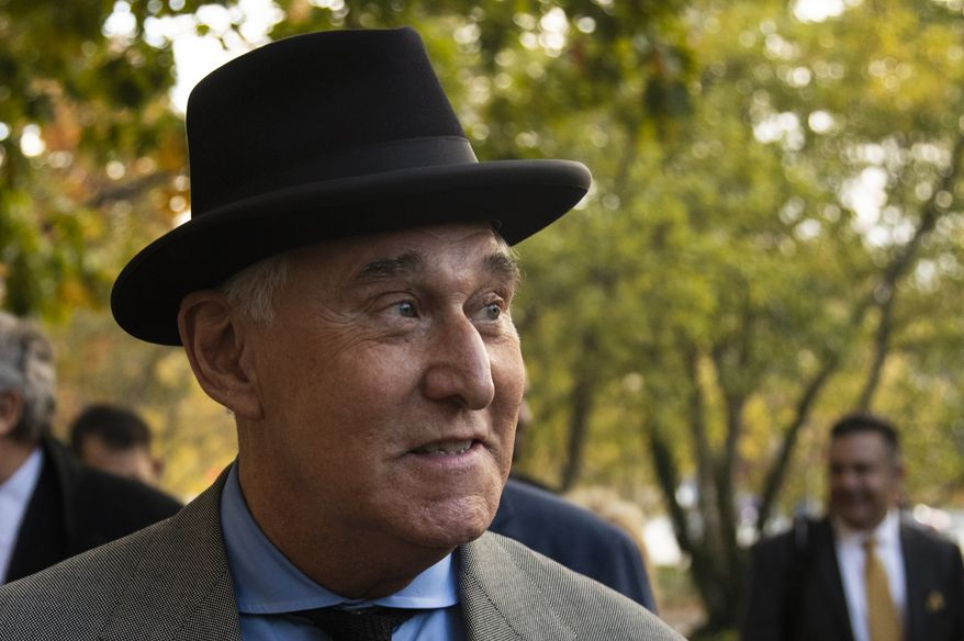 "Roger Stone leaves federal court Washington, Tuesday, Nov. 12, 2019. Stone, a longtime Republican provocateur and former confidant of President Donald Trump, wanted to contact Jared Kushner in order to ""debrief"" the president's son-in-law about hacked emails that were damaging to Hillary Clinton during the 2016 presidential campaign, a former Trump campaign aide said Tuesday. (AP Photo/Manuel Balce Ceneta)"