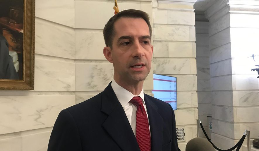 In this Nov. 4, 2019, file photo, Republican U.S. Sen. Tom Cotton talks to reporters after filing for reelection at the Arkansas state Capitol in Little Rock, Arkansas. (AP Photo/Andrew Demillo. File)