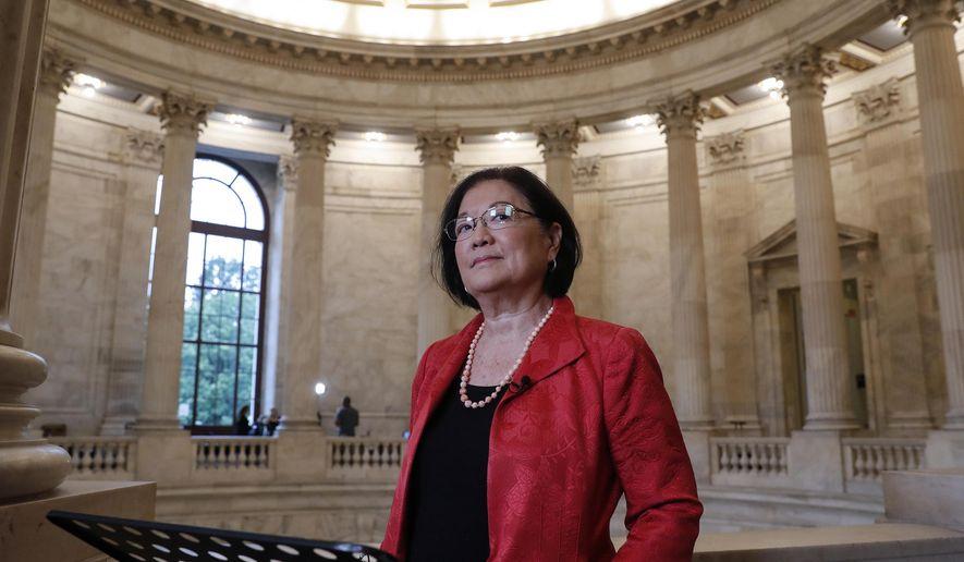 This Sept. 25, 2018, photo shows Sen. Mazie Hirono, D-Hawaii, at Capitol Hill in Washington. (AP Photo/J. Scott Applewhite) **FILE**