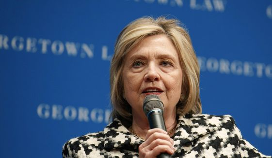 In this Wednesday, Oct. 30, 2019, file photo, former U.S. Secretary of State Hillary Clinton speaks at Georgetown Law's second annual Ruth Bader Ginsburg Lecture, in Washington. (AP Photo/Jacquelyn Martin) ** FILE **