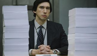 """This image released by Amazon Studios shows Adam Driver in a scene from """"The Report."""" (Atsushi Nishijima/Amazon Studios via AP)"""