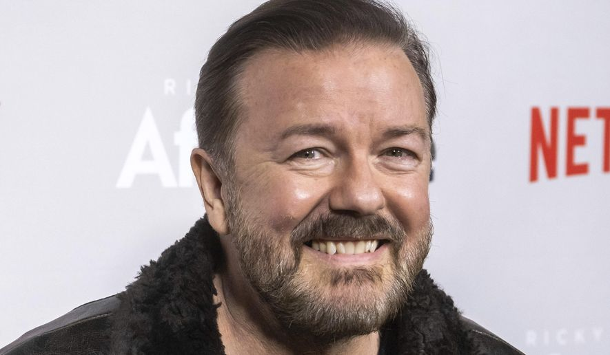 "In this Thursday, March 7, 2019, file photo, Ricky Gervais attends a screening of Netflix's ""After Life"" at the Paley Center for Media in New York. Gervais is returning to host the Golden Globe Awards. Gervais is returning to host the Golden Globe Awards, which will be held at the Beverly Hilton Hotel on Jan. 5, 2020, and aired live on NBC. (Photo by Charles Sykes/Invision/AP, File)"