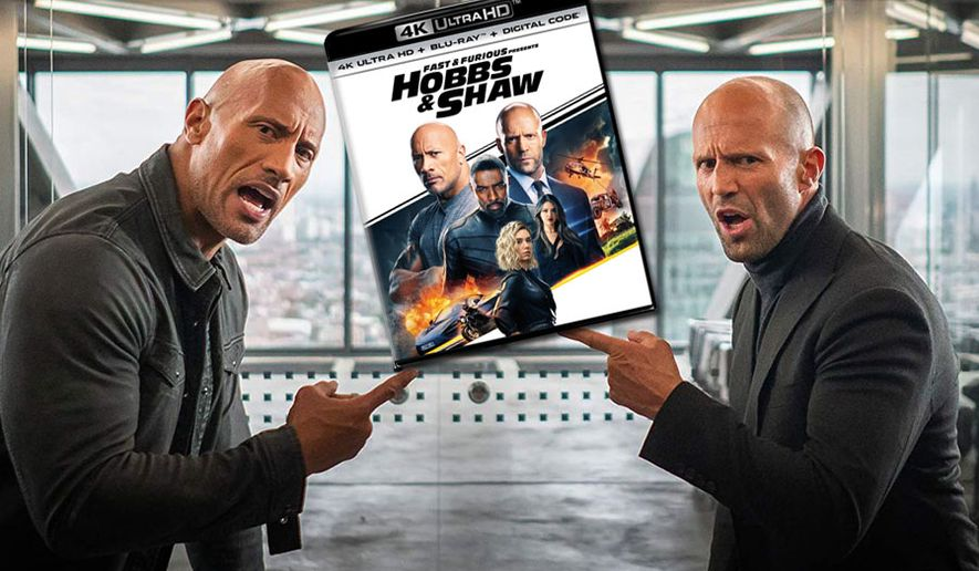 "DSS agent Luke Hobbs (Dwayne Johnson) and mercenary Deckard Shaw (Jason Statham) in ""Fast and Furious Presents: Hobbs & Shaw,"" now available on 4K Ultra HD from Universal Studios Home Entertainment."