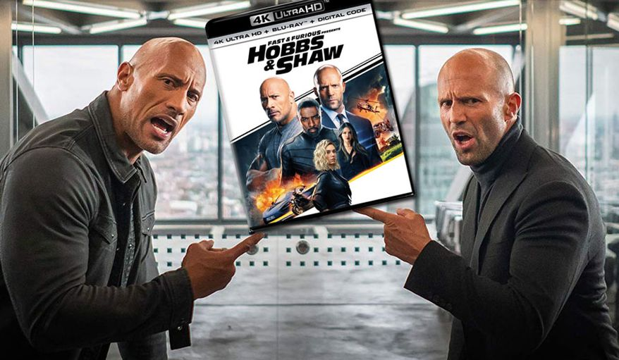 """DSS agent Luke Hobbs (Dwayne Johnson) and mercenary Deckard Shaw (Jason Statham) in """"Fast and Furious Presents: Hobbs & Shaw,"""" now available on 4K Ultra HD from Universal Studios Home Entertainment."""