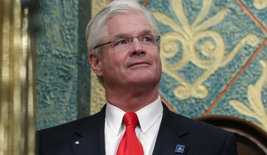 """FILE - In this Feb. 12, 2019 file photo, state Senate Majority Leader Mike Shirkey, R-Clarklake, appears at the state Capitol in Lansing, Mich. Shirkey is drawing criticism from state Democrats for likening abortion to the """"scourge"""" of slavery. Shirkey told Hillsdale College's radio station recently that allowing abortion is comparable to """"the scourge we endured when we still had slavery in this country."""" Democratic state Sen. Erika Geiss says Shirkey's remarks were """"incredibly insensitive."""" (AP Photo/Al Goldis, File)"""