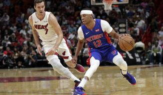 Detroit Pistons guard Tim Frazier (12) drives as Miami Heat guard Goran Dragic (7) defends during the first half of an NBA basketball game Tuesday, Nov. 12, 2019, in Miami. (AP Photo/Lynne Sladky)