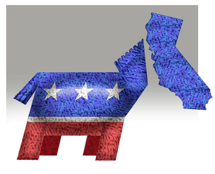 Illustration on Democratic party dominance of California by Alexander Hunter/The Washington Times