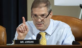 Rep. Jim Jordan, R-Ohio, asks a question during a House Intelligence Committee hearing on Capitol Hill in Washington, Wednesday, Nov. 13, 2019, during the first public impeachment hearing of President Donald Trump's efforts to tie U.S. aid for Ukraine to investigations of his political opponents. (Saul Loeb/Pool Photo via AP)