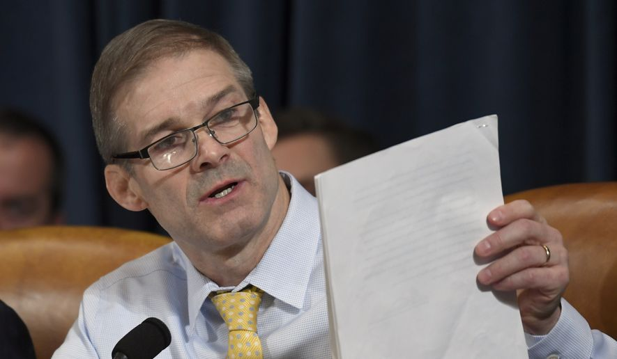 Rep. Jim Jordan, R-Ohio, questions top U.S. diplomat in Ukraine William Taylor, and career Foreign Service officer George Kent, at the House Intelligence Committee hearing on Capitol Hill in Washington, Wednesday, Nov. 13, 2019, during the first public impeachment hearing of President Donald Trump's efforts to tie U.S. aid for Ukraine to investigations of his political opponents. (AP Photo/Susan Walsh)
