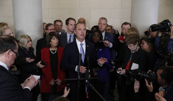House Intelligence Committee Chairman Adam Schiff, D-Calif., talks to the media after a hearing with testimony from top U.S. diplomat in Ukraine William Taylor and career Foreign Service officer George Kent, on Capitol Hill in Washington, Wednesday, Nov. 13, 2019, during the first public impeachment hearings of President Trump's efforts to tie U.S. aid for Ukraine to investigations of his political opponents. (AP Photo/Jacquelyn Martin)