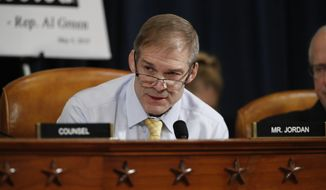 Rep. Jim Jordan, R-Ohio, speaks during a House Intelligence Committee hearing on Capitol Hill in Washington, Wednesday, Nov. 13, 2019, during the first public impeachment hearing of President Donald Trump's efforts to tie U.S. aid for Ukraine to investigations of his political opponents. (AP Photo/Alex Brandon)